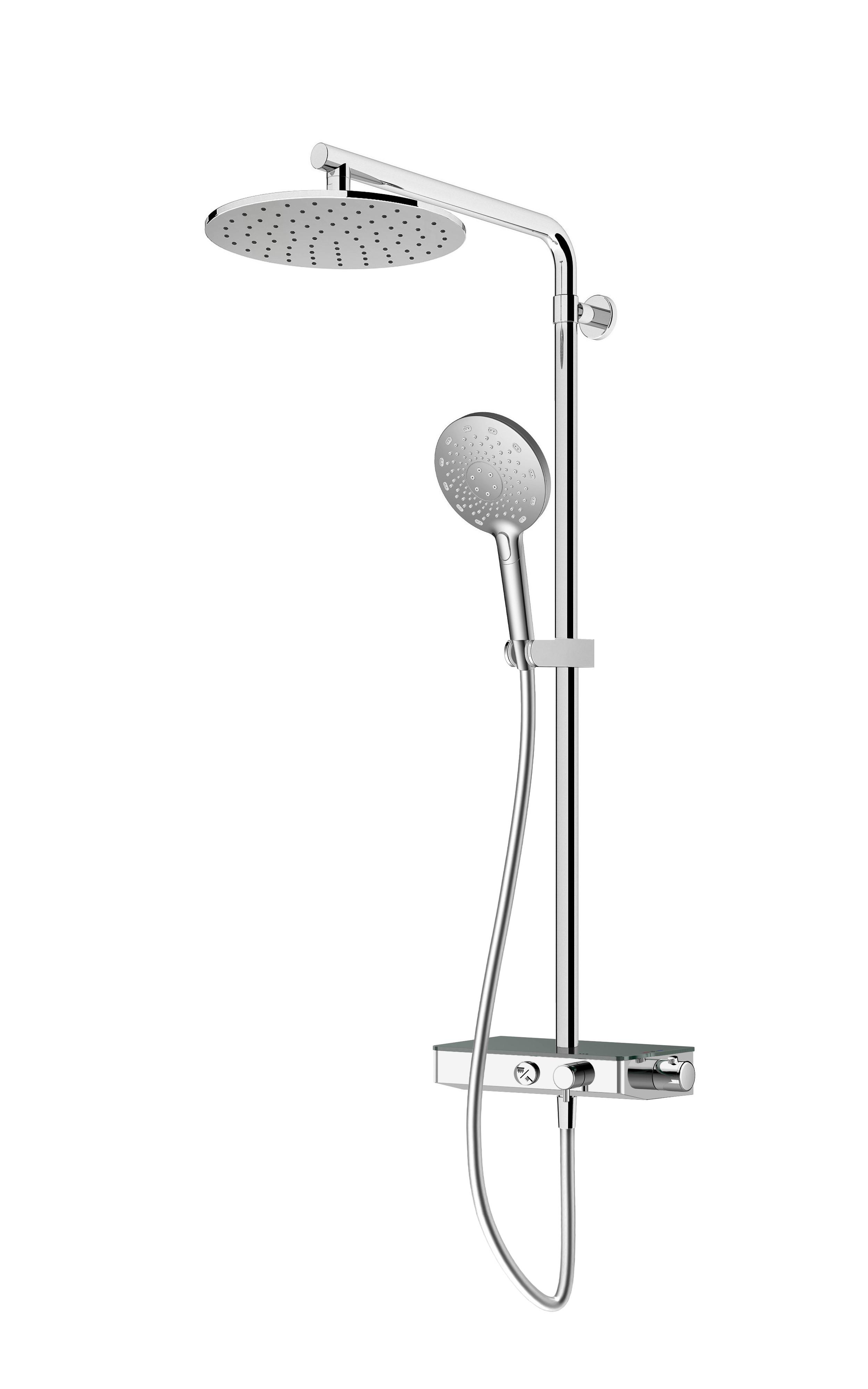 Immagine HD Colonna doccia termos. con mensola, doccia 3 getti e soffione Ø 250mm