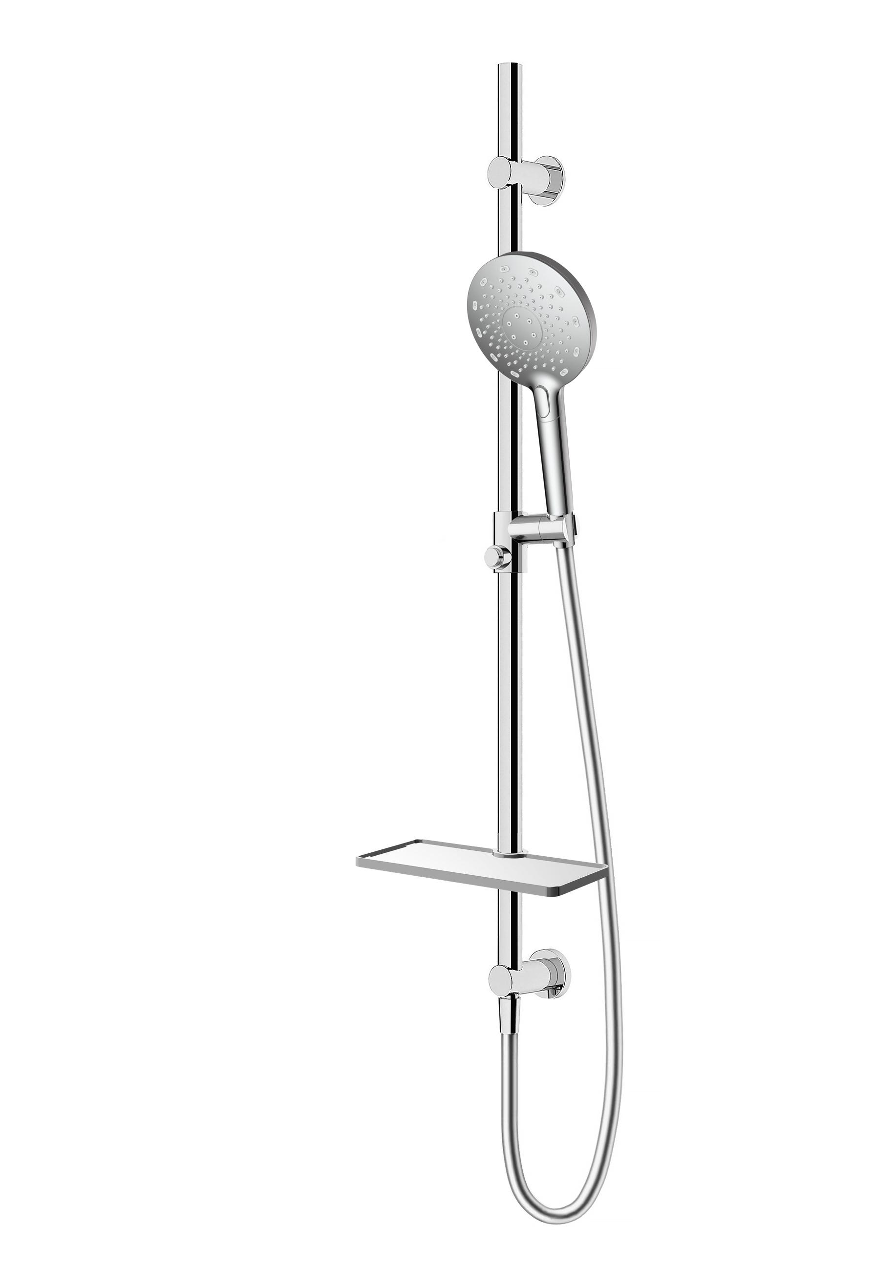 Immagine HD Doccia KYRT (presa acqua, curs. scorr., doccia 3 getti, flex silver e mensola)